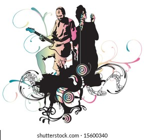 Illustration of a singer and a guitarist