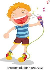illustration of singing boy