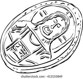 Illustration of single old Histamenon coin from the Byzantine Empire over white