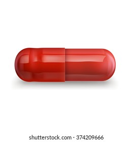 Illustration of single red pill, EPS 10 contains transparency