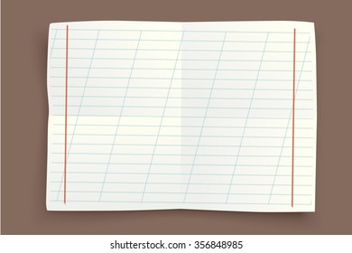 illustration of single three paper lists with shadows