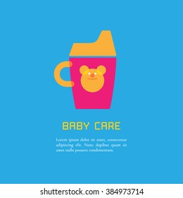 Illustration of sippy cup made in cute bright style vector. Baby products concept. Design element, logotype or clipart for a shop, product or company