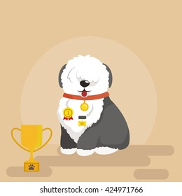 Illustration of sitting funny dog, Old English Sheepdog