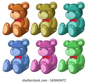 Illustration of the six bears on a white background