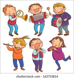Illustration of Six Children Playing Musical instruments. SET. Children illustration for School books, pictures books, magazines, advertising and more. Separate Objects. VECTOR.