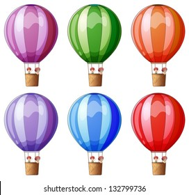 Illustration of the six colorful hot air balloons on a white background