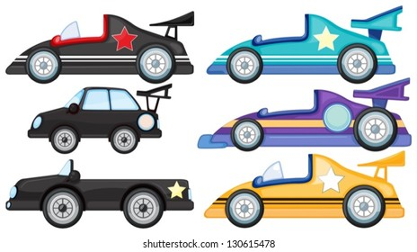 Illustration of the six different styles of toy cars on a white background