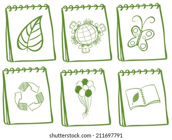 Illustration of six ionic of recycle symbol