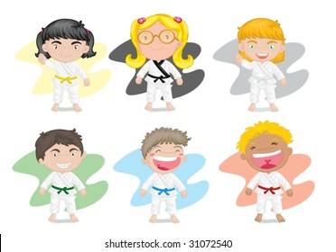illustration of six kids playing kung fu karate