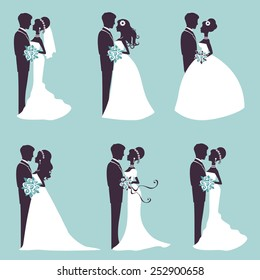 Illustration of Six wedding couples in silhouette in vector format
