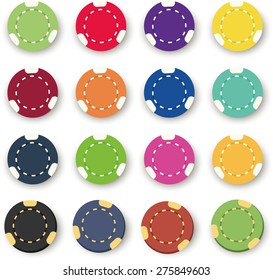 Illustration of the  sixteen colorful poker chips on a white background