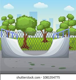 Illustration of a skate park with roller. Skate ramp on a skate arena. Skatepark in a city. Vector illustration