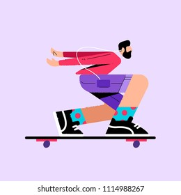 illustration with a skateboarder on a longboard