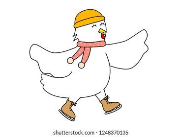 The illustration of skating hen