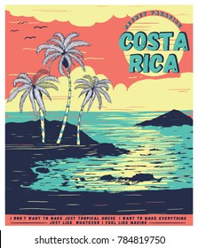 illustration sketch costa rica tropical graphic for tee print