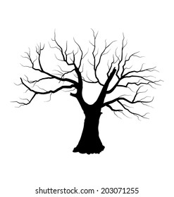 Illustration sketch of dead tree without leaves , isolated on white background - vector