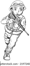 Illustration of a sketch of a soldier on a white background