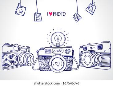 illustration sketch vintage retro photo camera