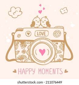 illustration sketch vintage retro photo camera with cute birds
