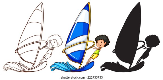 Illustration of the sketches of a boy playing with the waves in three colours on a white background