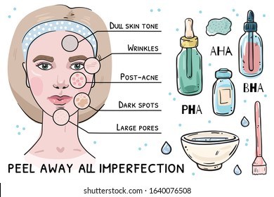 Illustration of skin problems that acid peeling solves. Girl's face and objects isolated on white background.