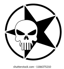 Illustration of skull with army star, graphic t-shirt, vector image