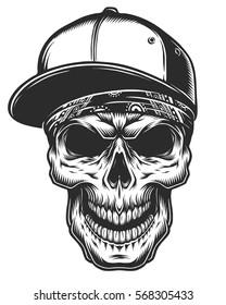 Illustration of the skull in bandana and baseball cap. Monochrome line work. Isolated on white background