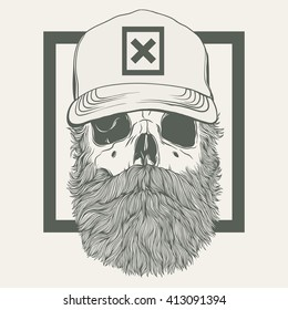illustration of  skull with a beard wearing a cap