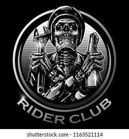 illustration of skull biker logo