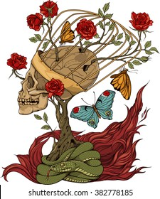 illustration with skull, bush of roses, snake and and flame