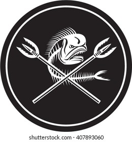 Illustration of a skull of dorado dolphin fish, mahi mahi or mahi-mahi with crossed primitive spearfishing spear set inside circle on isolated background done in retro style.