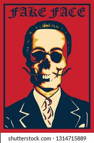 illustration skull face with body goverment called fake faced in red background with vector style -vector