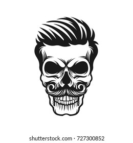 1af715021708 Illustration skull with hair and mustache