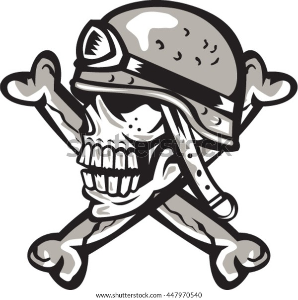 Illustration of a skull looking to the side wearing a military helmet viewed from the side with crossed bones at back set on isolated white background done in retro style.