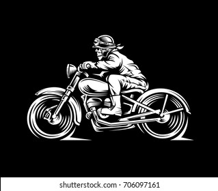 illustration skull motorcycle rider in a black background