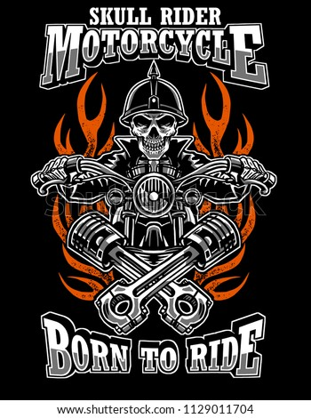 3e2ba157 Illustration skull rider custom motorcycle, emblems, t-shirt design, labels,  badges