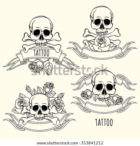 Illustration skull roses tattoo template text stock vector royalty illustration with skull and roses tattoo template for text set maxwellsz