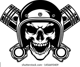 illustration of skull using helmet with cross piston on background in tattoo style monochrome