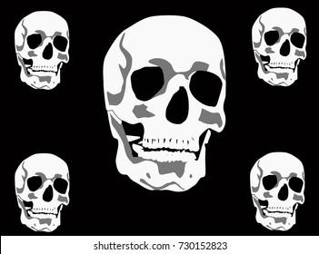 illustration with skulls isolated on black background