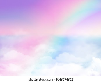 Illustration of sky holographic fantasy rainbow background and pastel color.