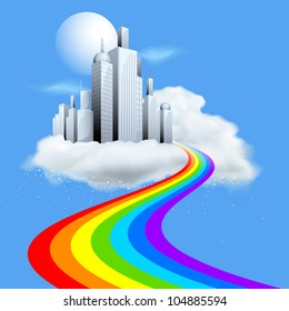 illustration of skyscraper building on cloud with rainbow path