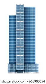 Illustration of skyscraper, modern apartment and office building, with facade of glass, illustration on the business, EPS 10 contains transparency, layered vector file.