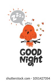 Illustration of a Sleeping bird with a text cloud and the sound of Z-Z-Z in cartoon style. Lettering hand drawn Good night. For children's room decor, baby clothes patterns, nursery. Vector