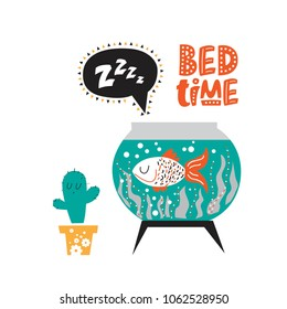 Illustration of a Sleeping fish in the aquarium with a text Bed time and a sound Z-Z-z in cartoon style. For children's room decor, prints for baby clothes patterns.
