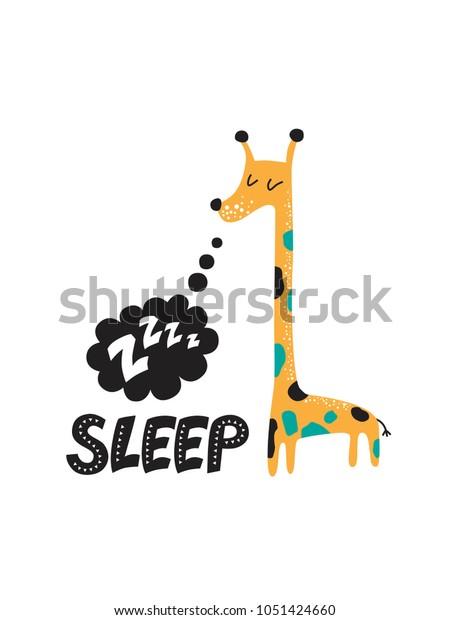 Illustration Sleeping Giraffe Text Cloud Sound Stock Vector