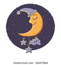Illustration a Sleeping Moon. Beautiful Cartoon moon. Happy Moon Cartoon Character In The Sky. Night, stars, cloud. Cute cartoon moon.