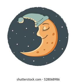 Illustration a Sleeping Moon. Happy Moon Cartoon Character In The Sky. Night, stars. Cute cartoon moon. Smiling moon.