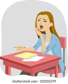 Illustration of a Sleepy Teenage Girl Letting Out a Big Yawn