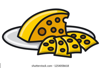 illustration of sliced cheese on the plate