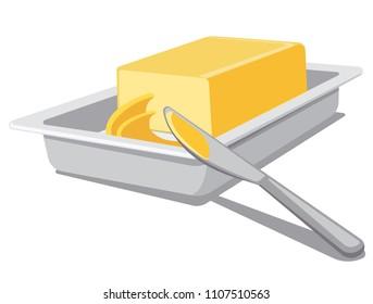 illustration of sliced spreading butter in tableware